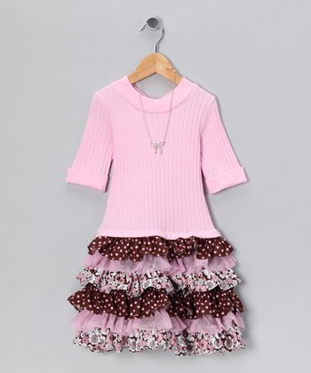 Pink & Brown Tiered Dress & Necklace - Girls