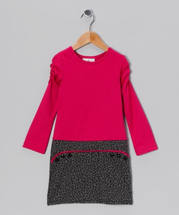 Fuchsia & Gray Cheetah Dress - Girls