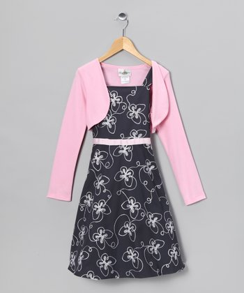 Gray & Pink Embroidered Dress & Bolero - Girls