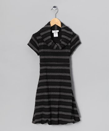 Gray & Black Stripe Bubble Dress - Girls
