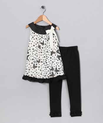Black Polka Dot Butterfly Tunic & Leggings - Toddler & Girls
