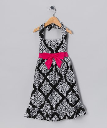 Black & White Floral Halter Dress - Toddler & Girls
