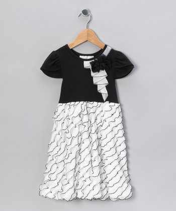 Ivory & Black Eyelash Ruffle Bubble Dress - Toddler & Girls