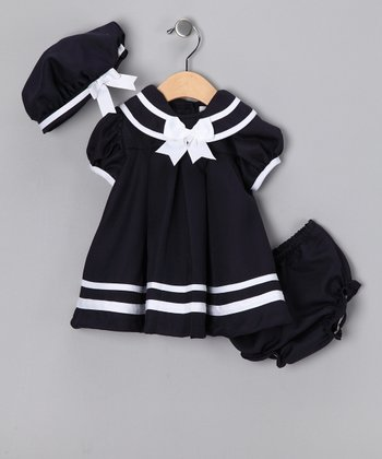 Navy Nautical Dress Set - Infant