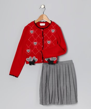 Red & Black Gingham Scottie Dog Cardigan & Skirt - Girls