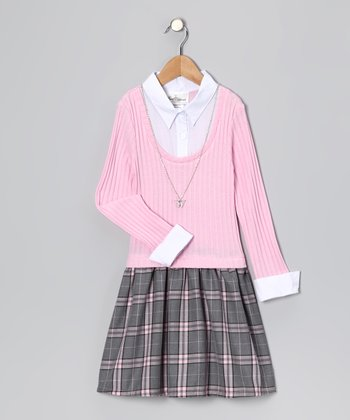 Pink Plaid Layered Dress - Girls