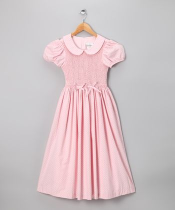 Pink Polka Dot Smocked Dress - Girls