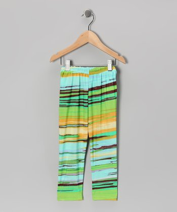 Green & Blue Horizon Leggings - Toddler & Girls