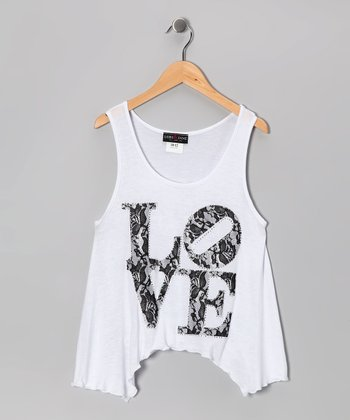 White Lace 'Love' Tank