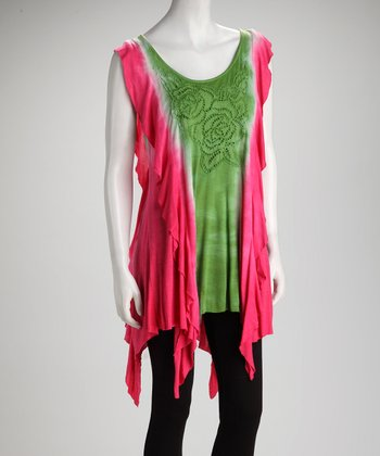 Pink & Green Tie-Dye Color Block Tunic