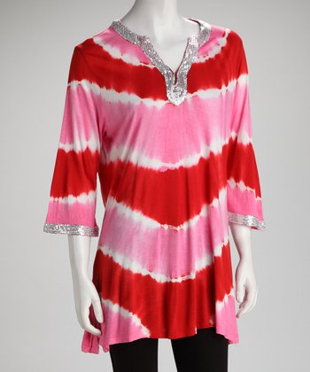 Hot Pink Stripe Embellished Tunic