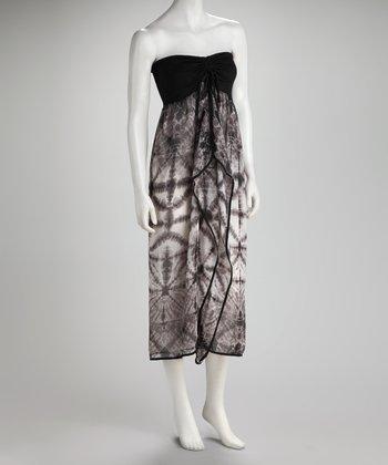 Raviya Black Abstract Strapless Dress