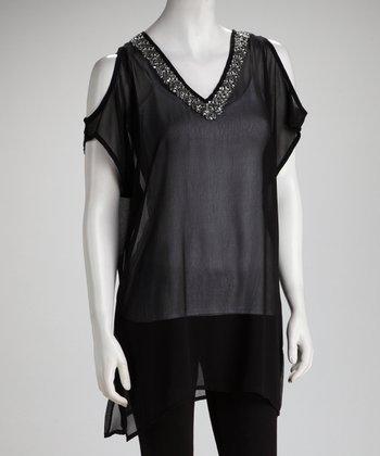 Raviya Black Embellished Sheer Cutout Tunic