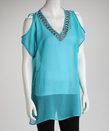 Turquoise Embellished Sheer Cutout Tunic