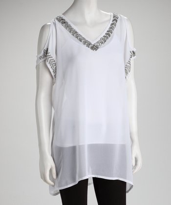 White Embellished Sheer Cutout Tunic