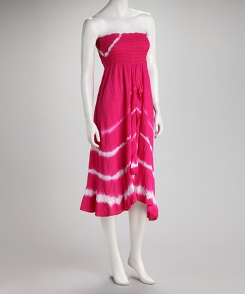 Hot Pink Stripe Ruffle Strapless Hi-Low Dress