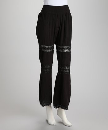 Black Lace Flare Pants