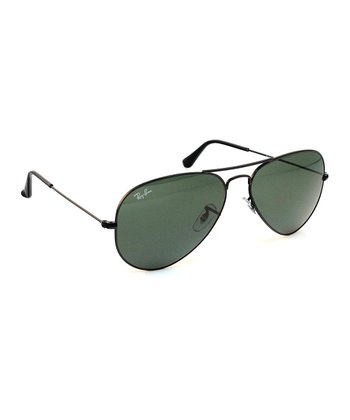 Black 58-mm Aviator Large Metal Sunglasses