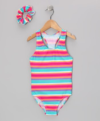 Orange & Turquoise Retro Stripe One-Piece & Hair Tie - Girls