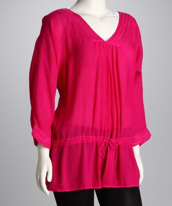 Fuchsia Drop-Waist Tunic - Women