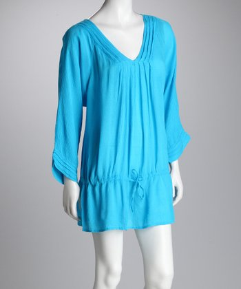 Turquoise Drop-Waist Tunic - Women
