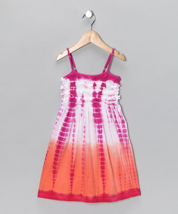 Fuchsia & Peach Dip-Dye Dress - Toddler & Girls