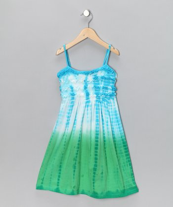 Turquoise & Green Dip-Dye Dress - Toddler & Girls
