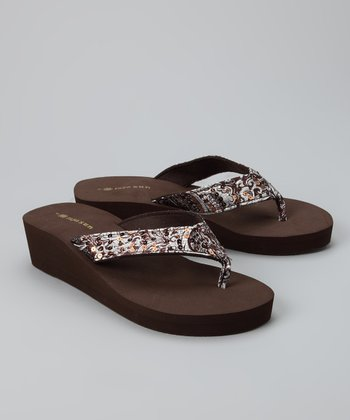 Brown Sequin Wedge Sandal