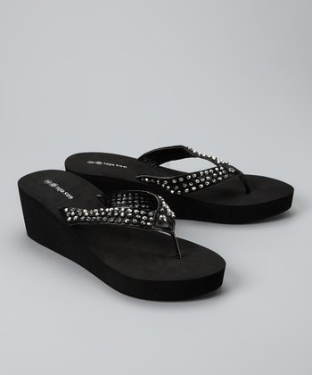 Black & Silver Beaded Wedge Sandal