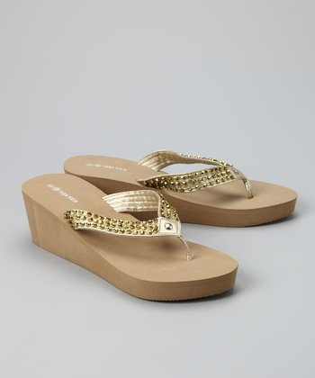 Tan & Gold Beaded Wedge Sandal