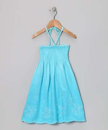 Turquoise Floral Convertible Dress - Toddler & Girls