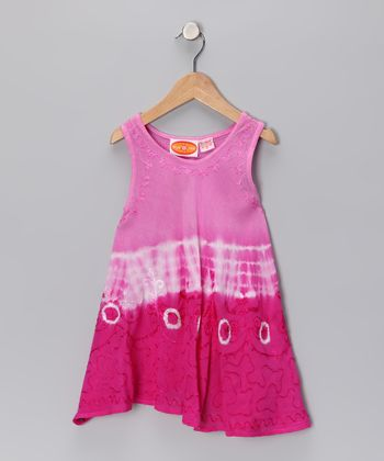 Fuchsia Dip-Dye Dress - Toddler & Girls