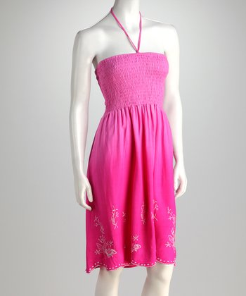 Fuchsia Shirred Halter Dress - Women
