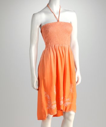 Orange Shirred Halter Dress - Women