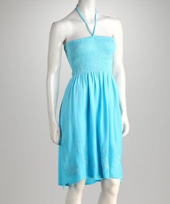 Turquoise Shirred Halter Dress
