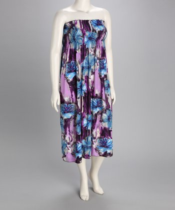 Lavender & Blue Blossom Maxi Dress