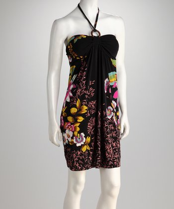 Black Tropical Garden Halter Dress
