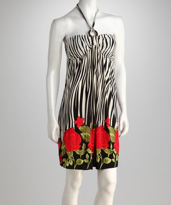 Black & White Zebra Roses Halter Dress