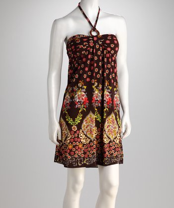 Chocolate Exotic Floral Halter Dress