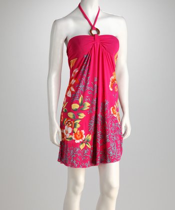 Fuchsia Tropical Garden Halter Dress