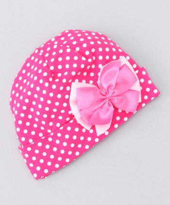 Hot Pink Polka Dot Beanie