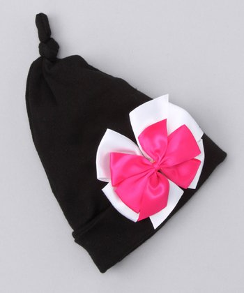 Black & Pink Bow Single Knot Beanie