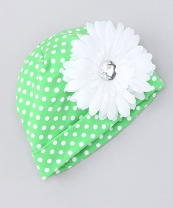 Green Polka Dot Flower Beanie