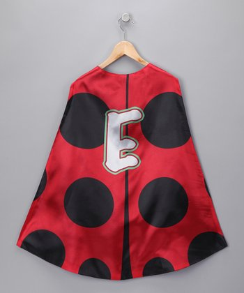 Red & Black Ladybug Initial Cape