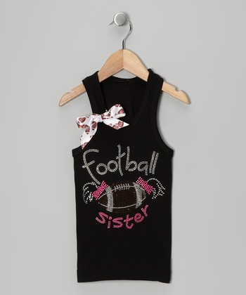 Black 'Football Sister' Bow Tank - Infant, Toddler & Girls