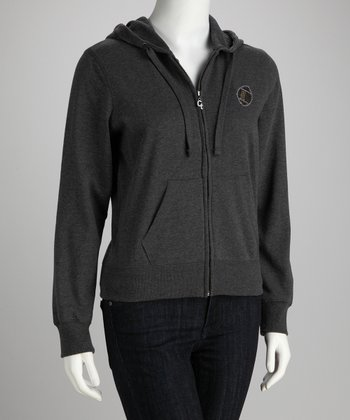 Gray '#1 Fan' Football Zip-Up Hoodie - Women & Plus