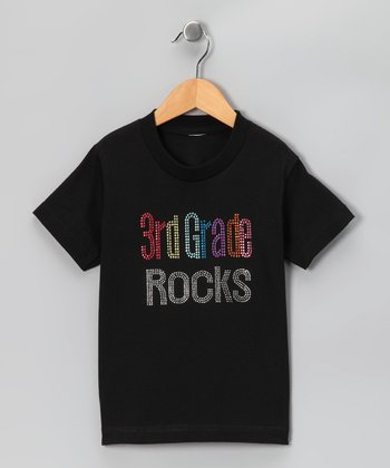 Black '3rd Grade Rocks' Tee - Girls
