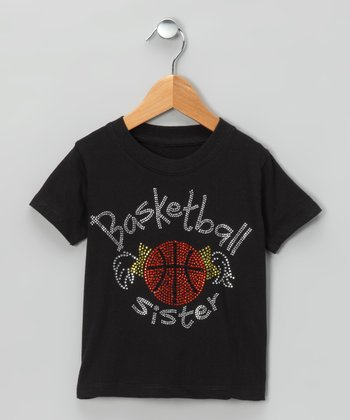 Black 'Basketball Sister' Tee - Toddler & Girls