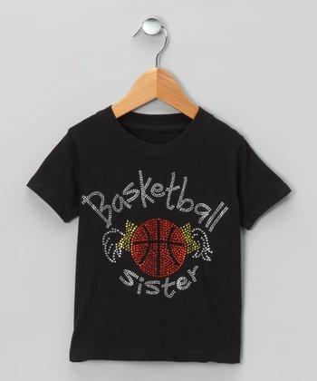 Black 'Basketball Sister' Tee - Toddler & Girls