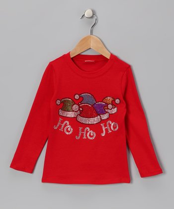 Red 'Ho Ho Ho' Hats Tee - Infant, Toddler & Girls